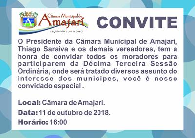 Convite 13 Sessão Ordinária